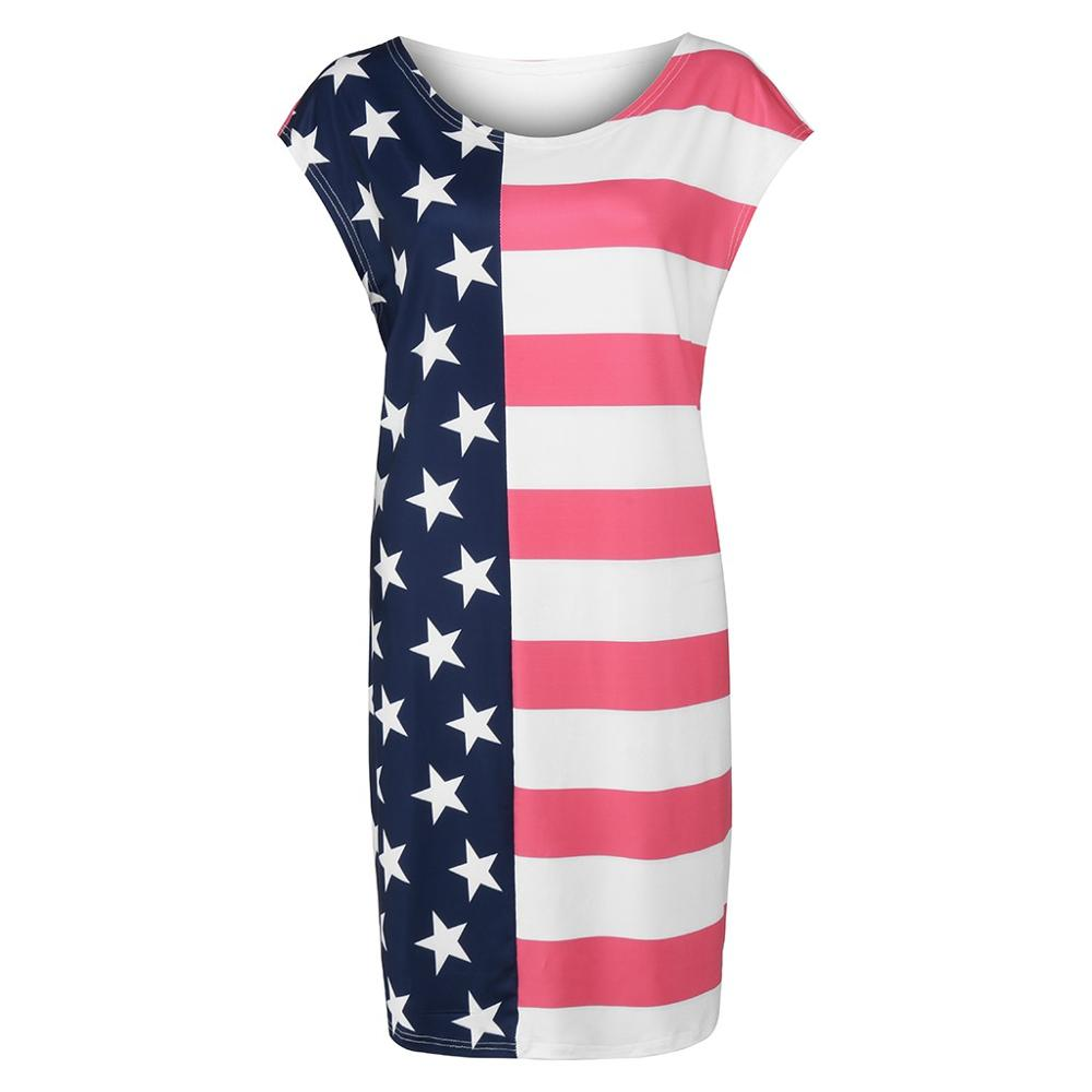 American Flag Print Women's Dress Casual Short Sleeve Pockets Patriotic Stripes