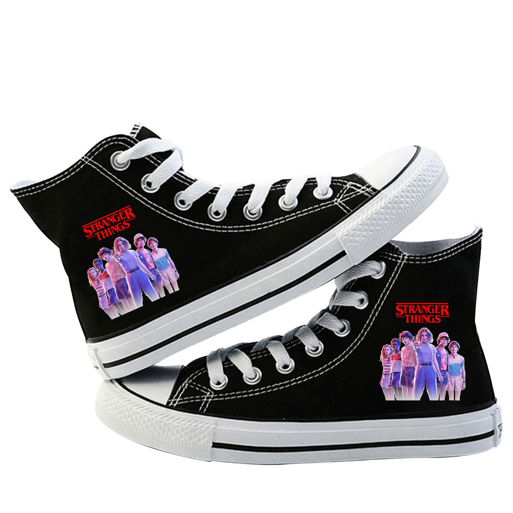 Stranger Things Canvas Shoes Casual High Top Lace Up Flat Shoes
