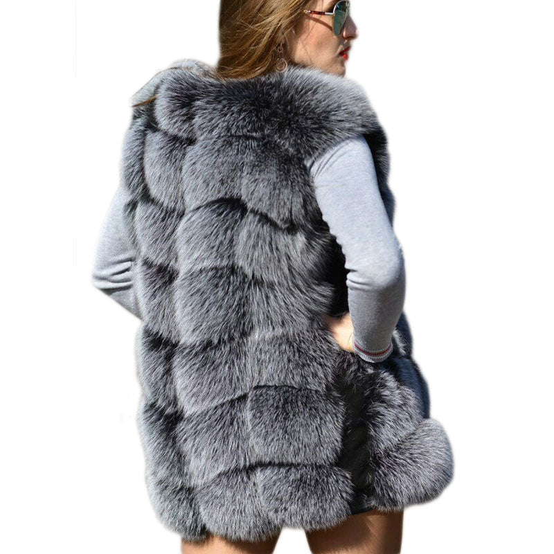 Faux Sliver Fox Fur Vest Women Winter Fashion Medium Long Artifical Fox Fur Vests Woman Warm Fake Fox Fur Coats Female Ladies