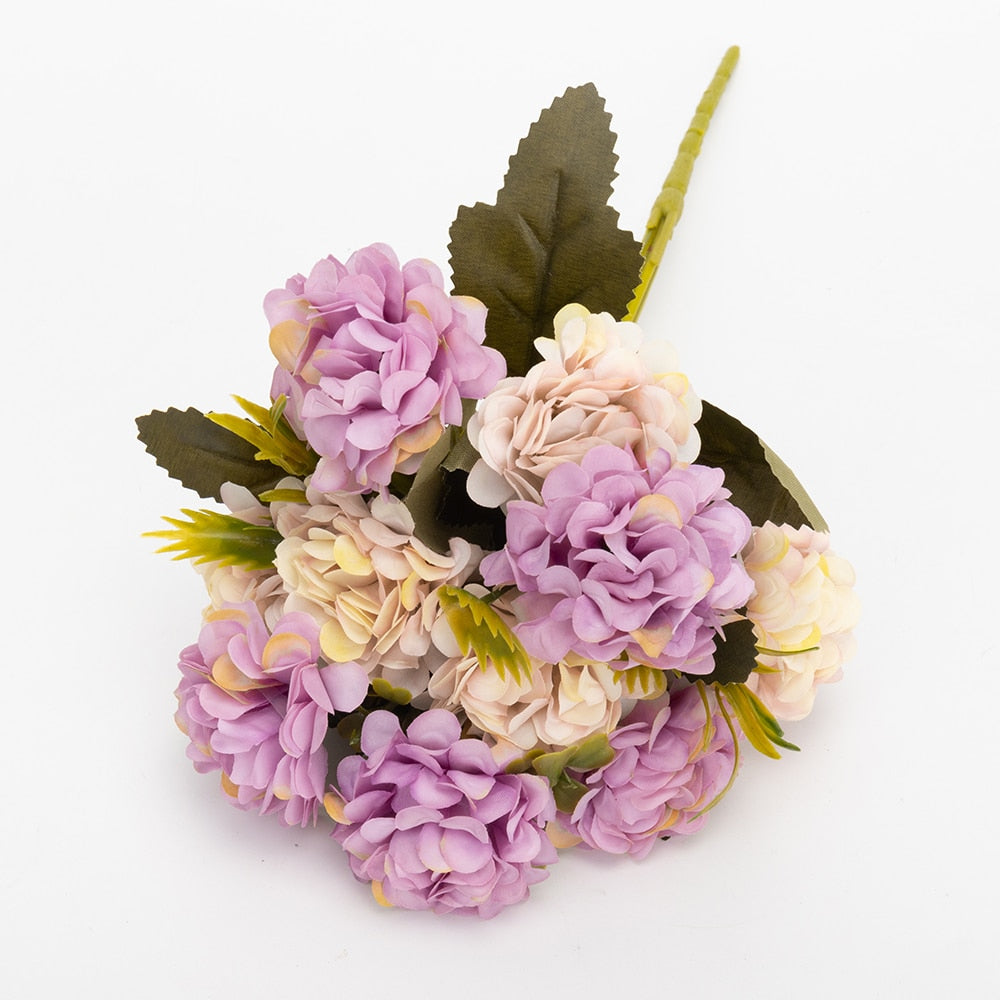 Silk Hydrangeas Artificial Flowers High Quality Small Bouquet Decor