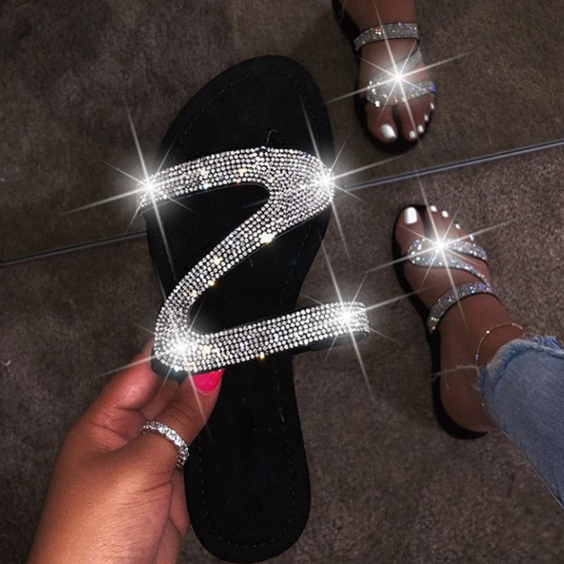Crystal Slippers Glitter Flat Soft Bling Candy Color Flip Flops