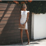 Lace White Dress Women Elegant Evening Party Dresses Sleeveless Bandage Ruffles Floral Vintage Sexy Hollow Short Mini Dresses
