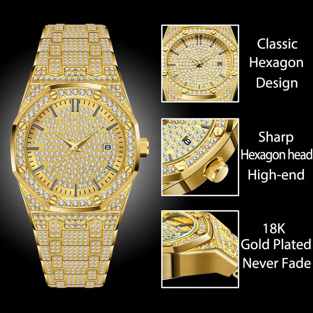MISSFOX Women Watch 18K Gold Fashion Calender Diamond Watch