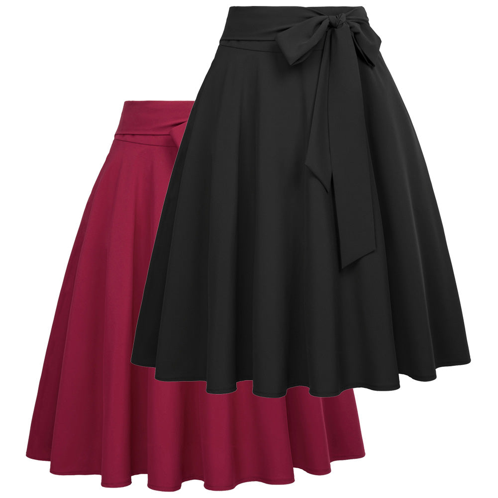 Self-Tie Bow-Knot A-Line Skirt Embellished Solid Color High Waist Swing Skirt