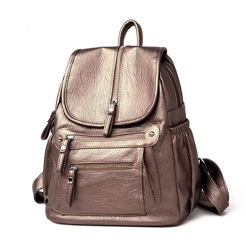 Leather Backpack Casual Large Capacity Vintage Shoulder Bag