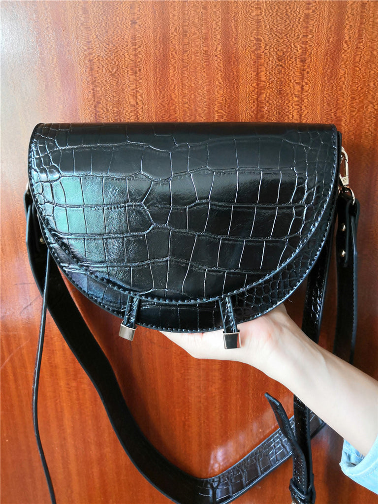 NIGEDU Women Crossbody Bag Fashion Crocodile Semicircle Saddle Bags PU Leather Shoulder Bags for female Handbags designer bolsas