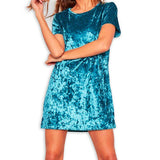 Women Round Neck Short Sleeve Crushed Velvet Party Dress