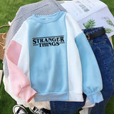 Stranger Things Letter Print Sweatshirt Harajuku Casual Spell Color Stitching Thick Sweaters