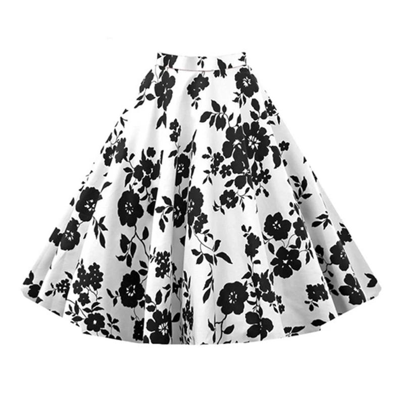 Floral Vintage Plus Size Swing Skirt