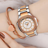 MISSFOX Women Rose Gold Quartz Watch Stainless Steel Wrist Watch