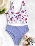 High Waisted Women Bikini American Flag Tied Plunging Beach Swimwear Ruffle Swimsuit