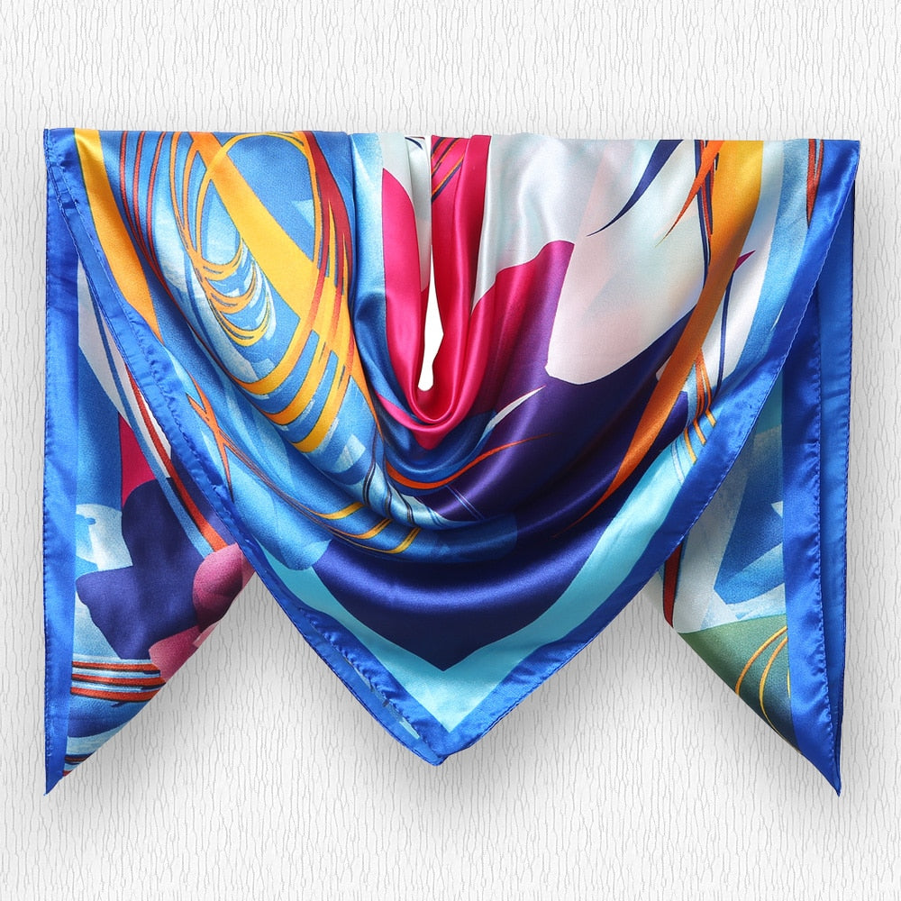 Women Scarf Print Twill Square Silk Scarf Accessory
