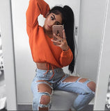 Casual Long Sleeves Deep-V Top Off Shoulder Solid Top