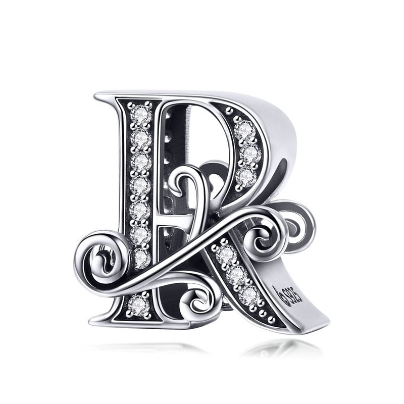 DIY Jewelry Sterling Silver Vintage A To Z 26 Letter Alphabe Bead Charms