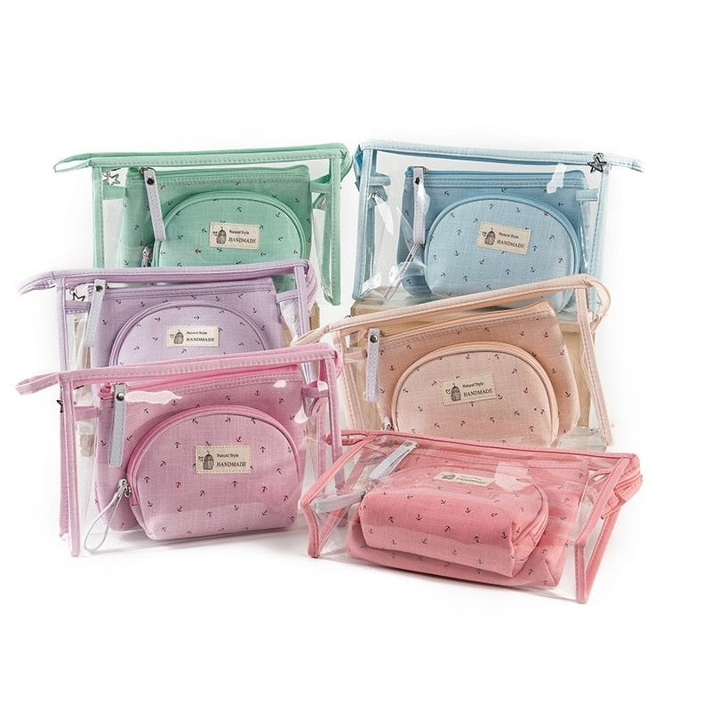 Miyahouse 3pcs/set Fashion Brand Cosmetic Bags Waterproof Neceser Portable Make Up Bag Women PVC Pouch Travel Toiletry Bag Blosa