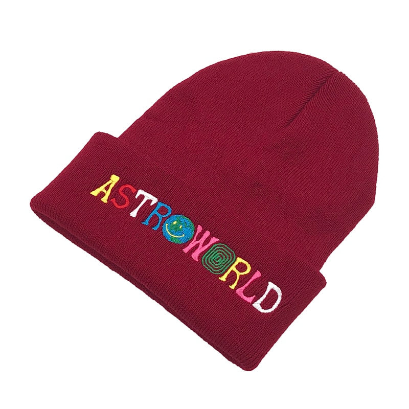 Knitted Hat Warm Winter Unisex Astroworld Embroidery Beanie