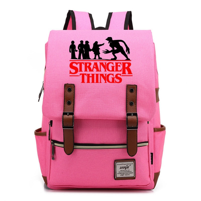 Teenagers Backpack Stranger Things Christmas Lamp Letter Student Schoolbag