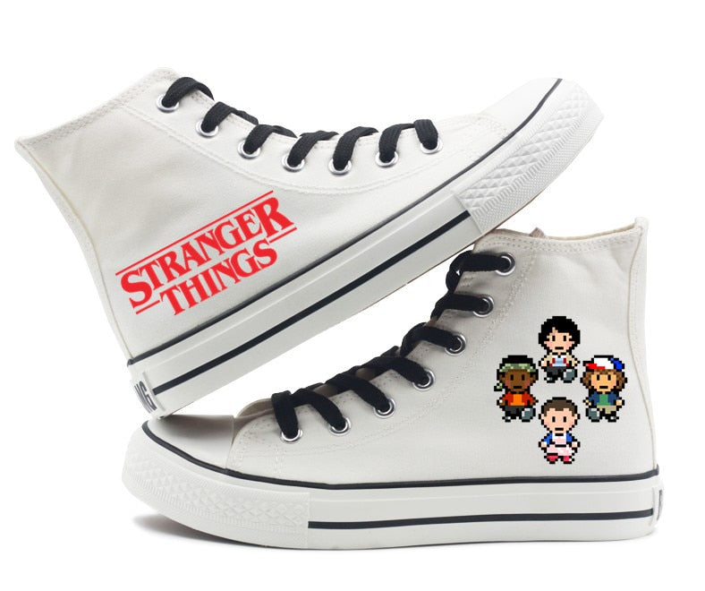 Stranger Things Eleven 11 DEMOGORGON Printing Canvas Shoes Unisex High Top Flat Shoes