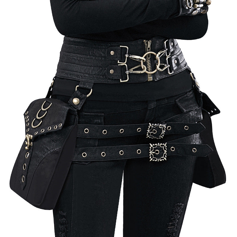Vintage Waist Bag Punk Style Durable Gothic Bag