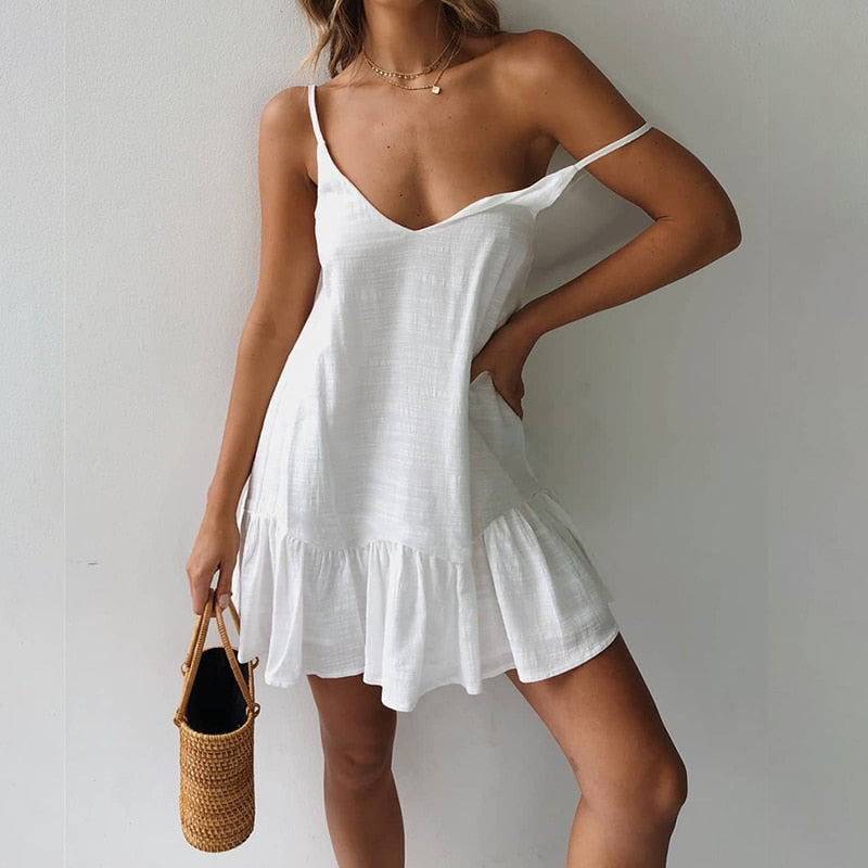Spaghetti Strap Dresses Off Shoulder Women Summer Dress 2020 White Shift Dress Ruffle Sexy Sundress Mini Cotton Linen Vestidos