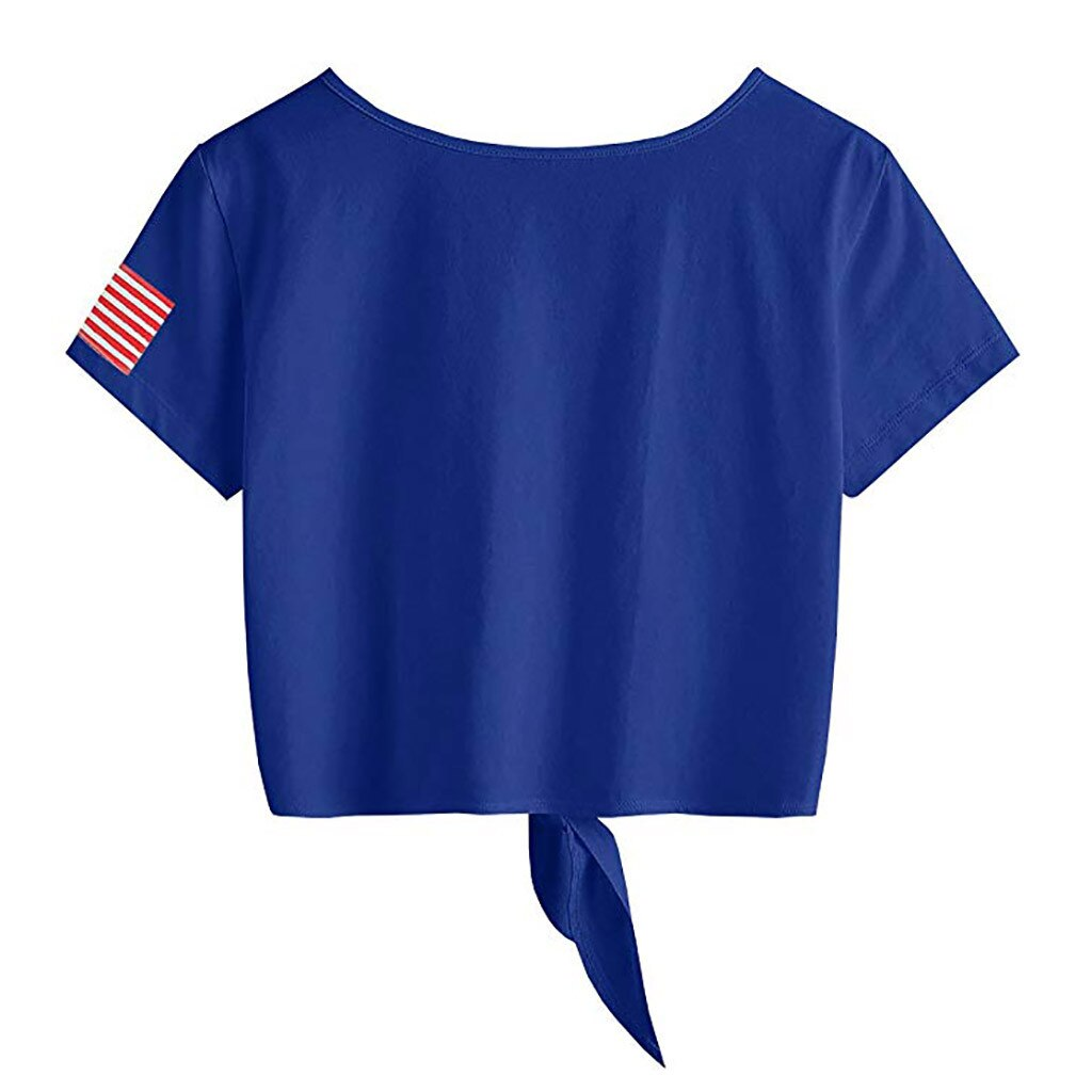 American Flag Print Womens Short Sleeve Tops Cross Scoop Neck T-Shirt