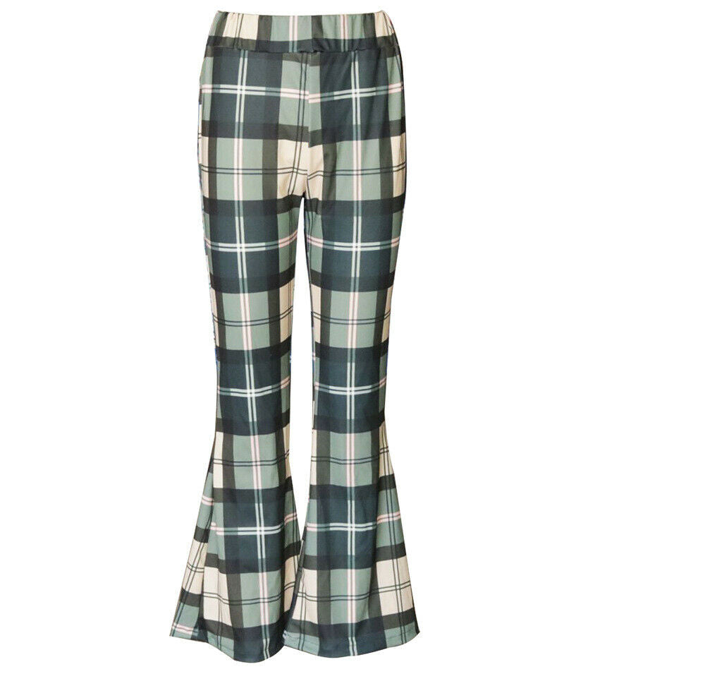 Vintage Plaid Girls High Waist Bell-Bottom Pants