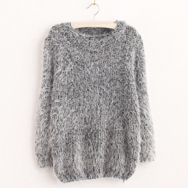 Knitted Tops Women Fashion Warm Mohair O-Neck Pullover