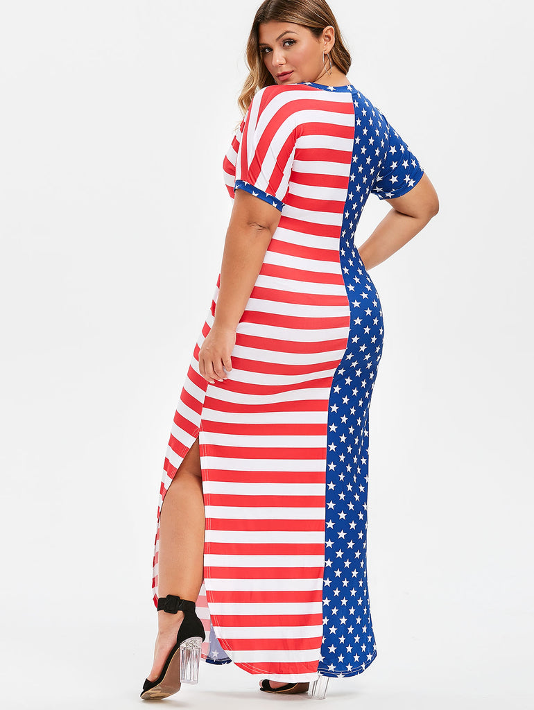 American Flag Print Plus Size Dress Slit SeamCasual Dress Striped Long Dresses