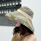 Double Sided Irregular Pattern Bucket Hat Women Cotton Breathable Leisure Bob Cap