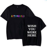 New Fashion Hip Hop T Shirt Men Women Travis Scotts ASTROWORLD Harajuku T-Shirts WISH YOU WERE HERE Letter Print Tees Tops