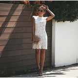 Vintage Sexy Hollow Short Mini Dress Sleeveless Lace Dress