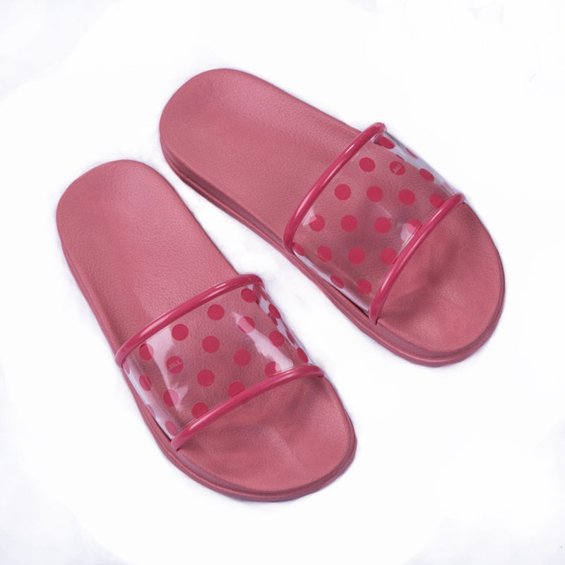 Polka Dots Transparent  Peep-Toe Slippers