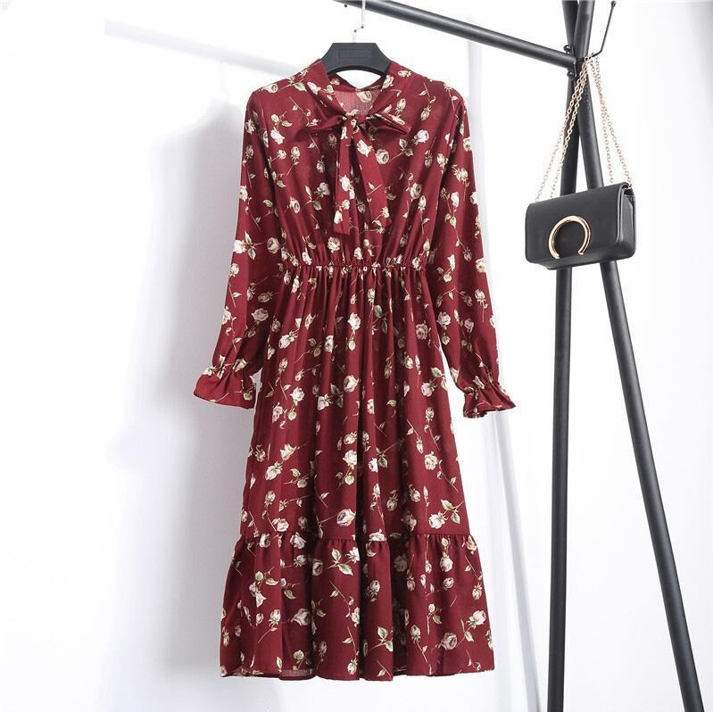 Black Shirt Office Polka Dot Vintage  Dresses Women Dresss Midi Floral Long Sleeve Dress