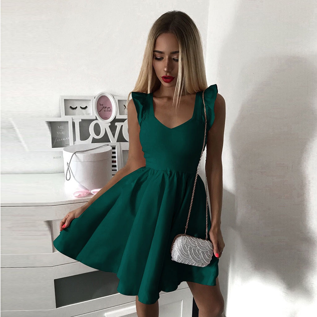 Feitong Summer Dress Women Elegant Sleeveless V Neck Vestido Dress Female Solid Mini Party A Line Dress Ladies Dresses §á§ݧѧä§î§Ö
