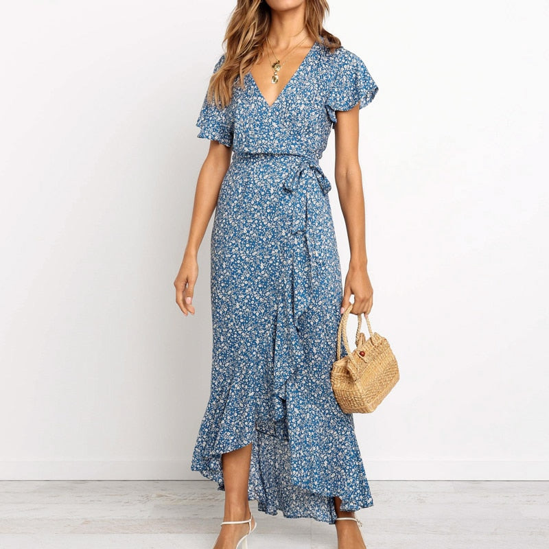 Beach Long Dress Floral Print Sexy V-neck High Slit Wrap Maxi Dress