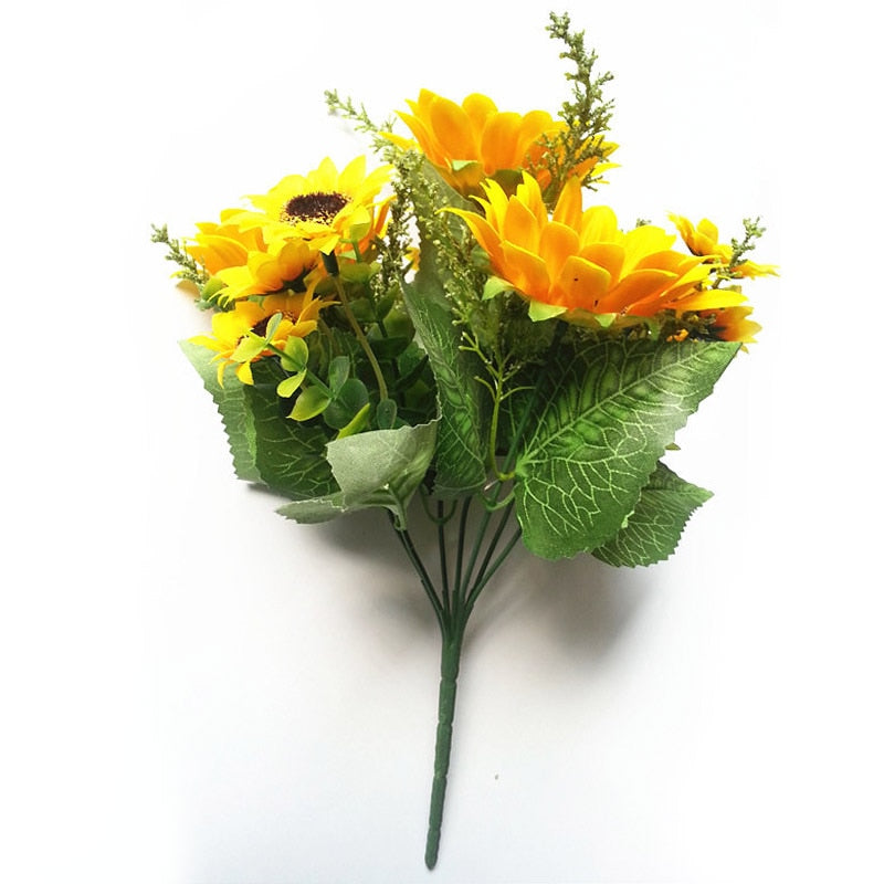 13 Heads Silk Sunflower Artificial Flowers 7 Branch/Bouquet for Home Decor (Yellow)