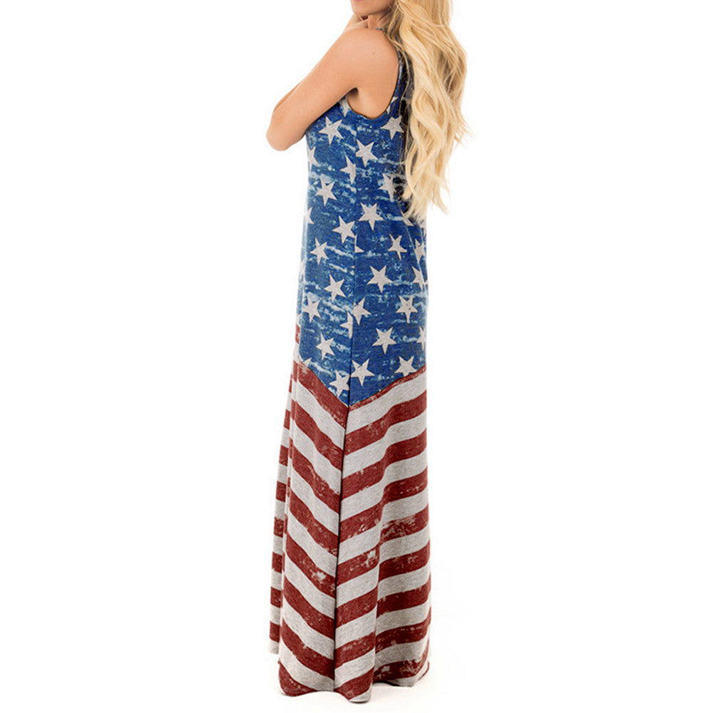 Independence Day Costume Women American Flag Print Round Neck Sleeveless Long Dress