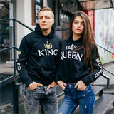 Couple Pullover King & Queen Print Crown Hoodie