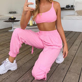 2 Piece Set Women Casual Pockets Loose Cargo Pants Jogger Pant Elastic Waist Backless