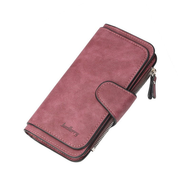Women Leather Clutch Bag Luxury Zipper Pocket Hasp Wallet