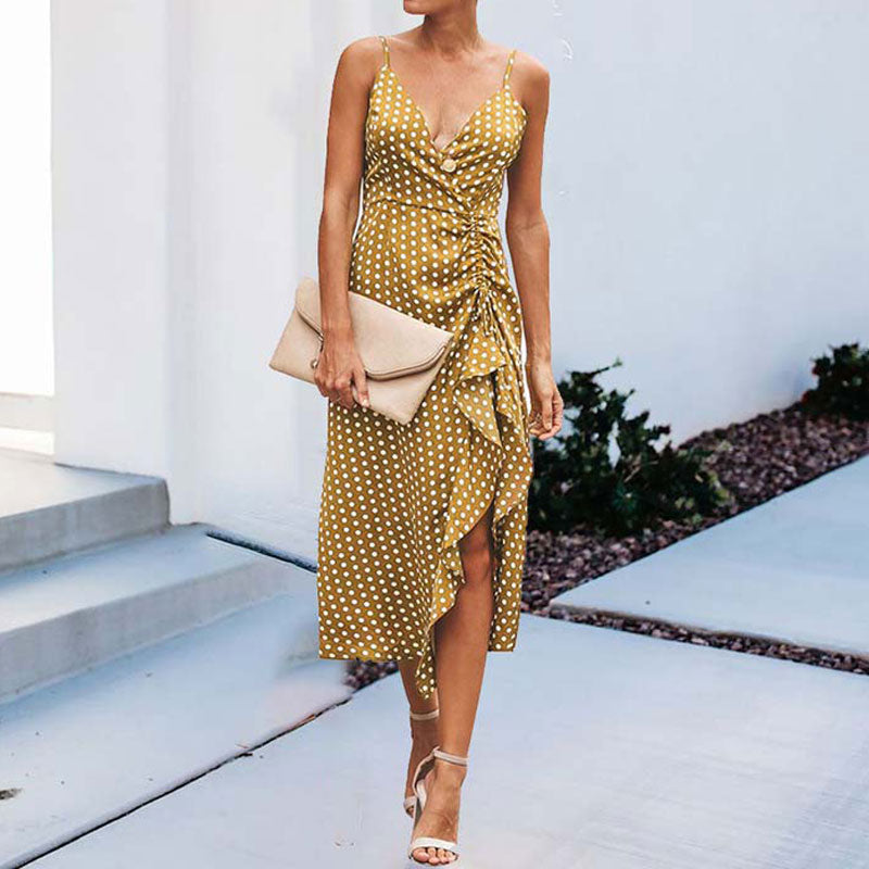 Summer Dots Dress V-neck Backless Long Party Sling Dress