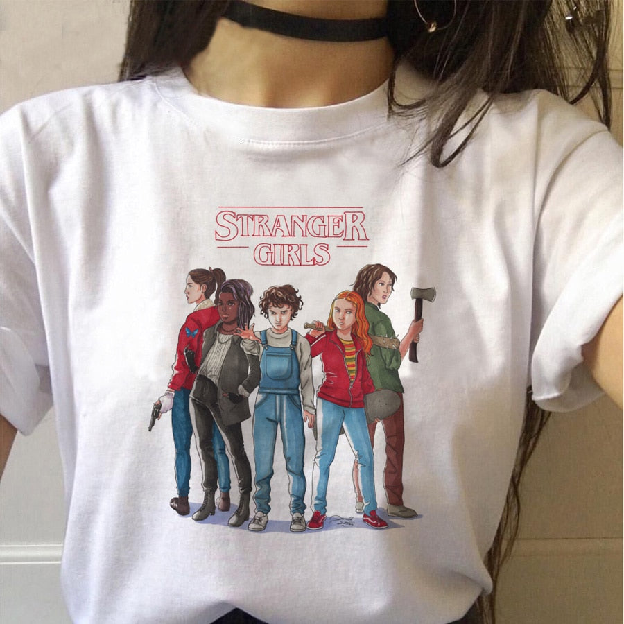 Stranger Things T-Shirt Women Upside Down Eleven Female Graphic Grunge Tee Shirts Funny Clothing