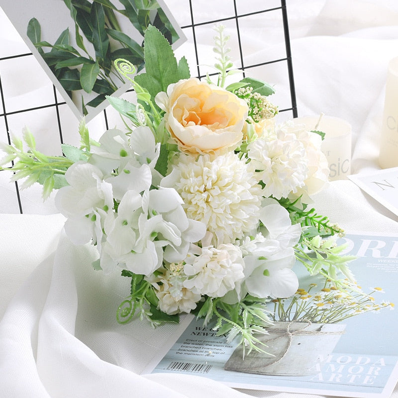 Artificial Flowers Hydrangea Silk Bouquet for Home  Decor