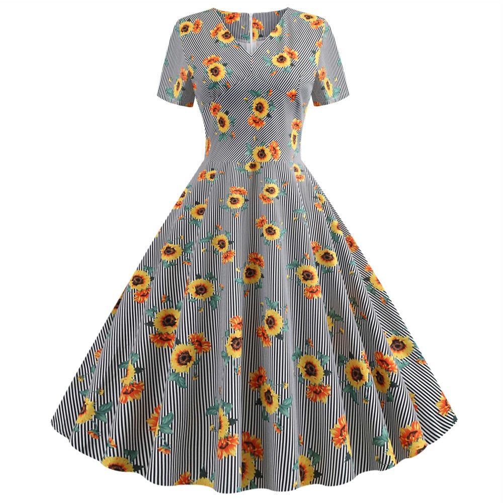 Wipalo Vintage Dress 50s 60s Summer Women Floral Print Short Sleeve Retro Robe Rockabilly Dresses Party Dress Casual Vestidos