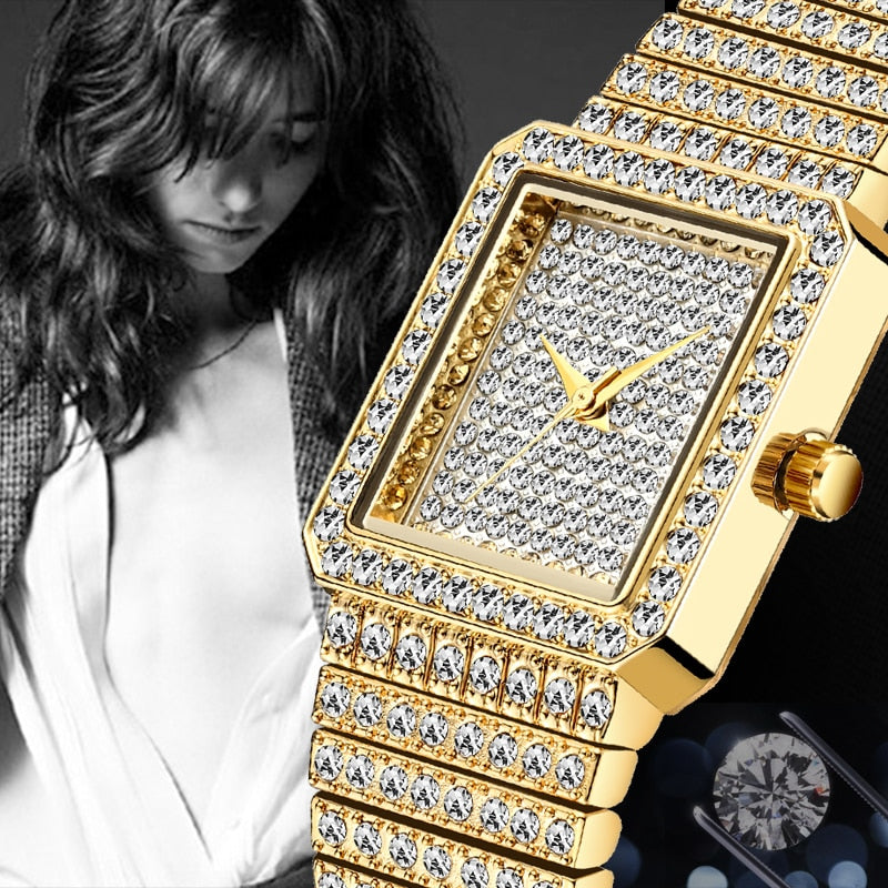 MISSFOX Diamond Watch Gold Square Minimalist Analog Quartz Watch