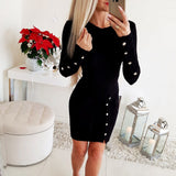 Office Ladies Button Dress Bag Hip Bodycon Black O Neck Dresses Woman Long Sleeve Tight Mini Wrap Robe Sexy Femme Vestidos Mujer