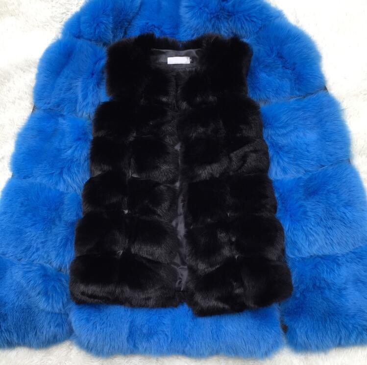 Women Long Artifical Fox Fur Vest Warm Fake Fox Fur Coats  For Ladies