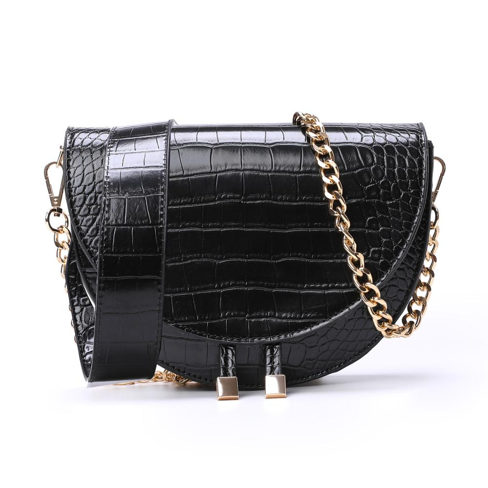 Women Crossbody Bag Fashion Crocodile Semicircle Saddle Bag