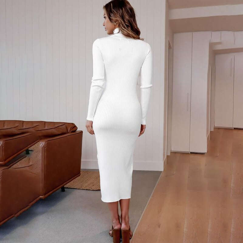 Women Cotton Knitted Maxi Autumn Winter Dress Turtleneck Long Sleeve White Black Pink Long Bodycon Dresses Party Slim Vestidos