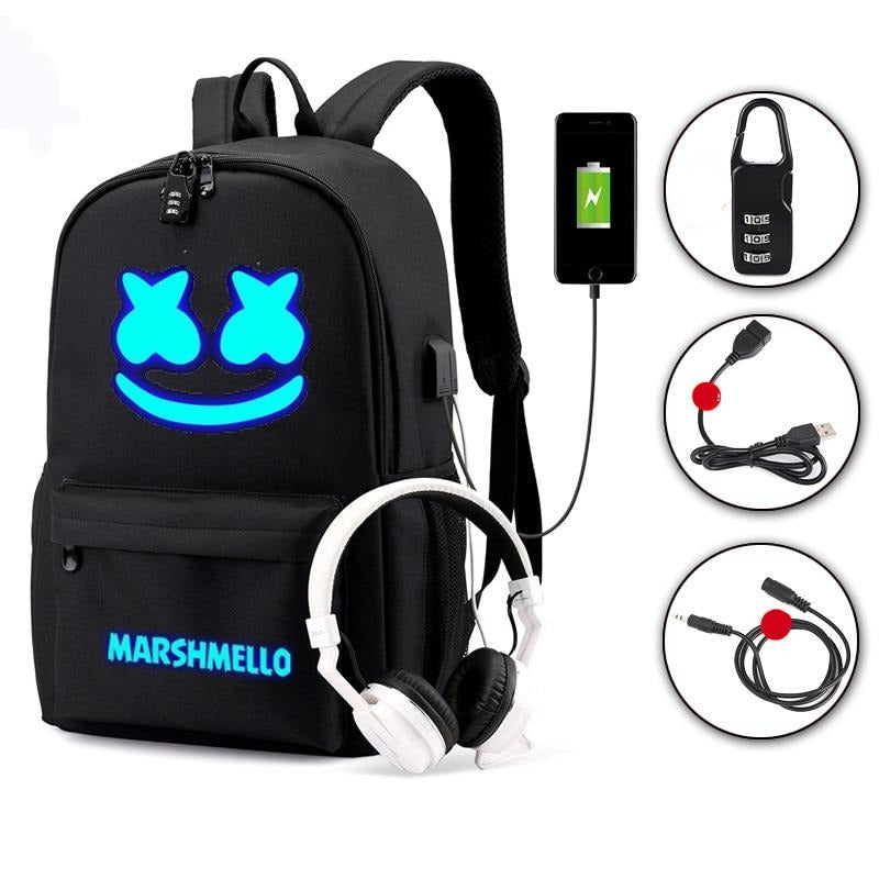 DJ Marshmello Luminous Backpack Multifunctional USB Charging Anti-theft Bag